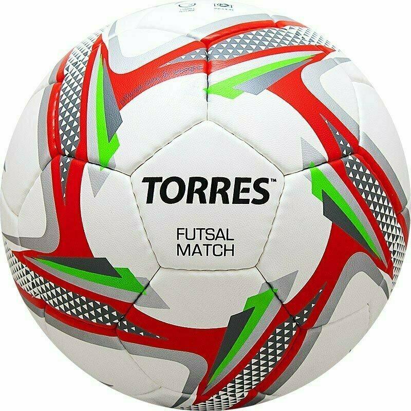 Мяч футзальный TORRES Futsal Match арт.F31864, р.4, 32 панели. PU, 4 подкл. слоя, бело-серебр-крас.
