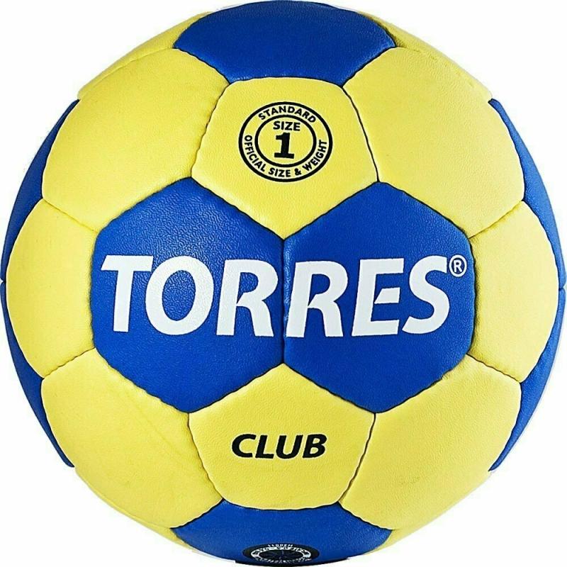 Мяч гандбольный  TORRES Club арт.H30041, р.1, ПУ, 5 подкл. слоев, сине-желтый