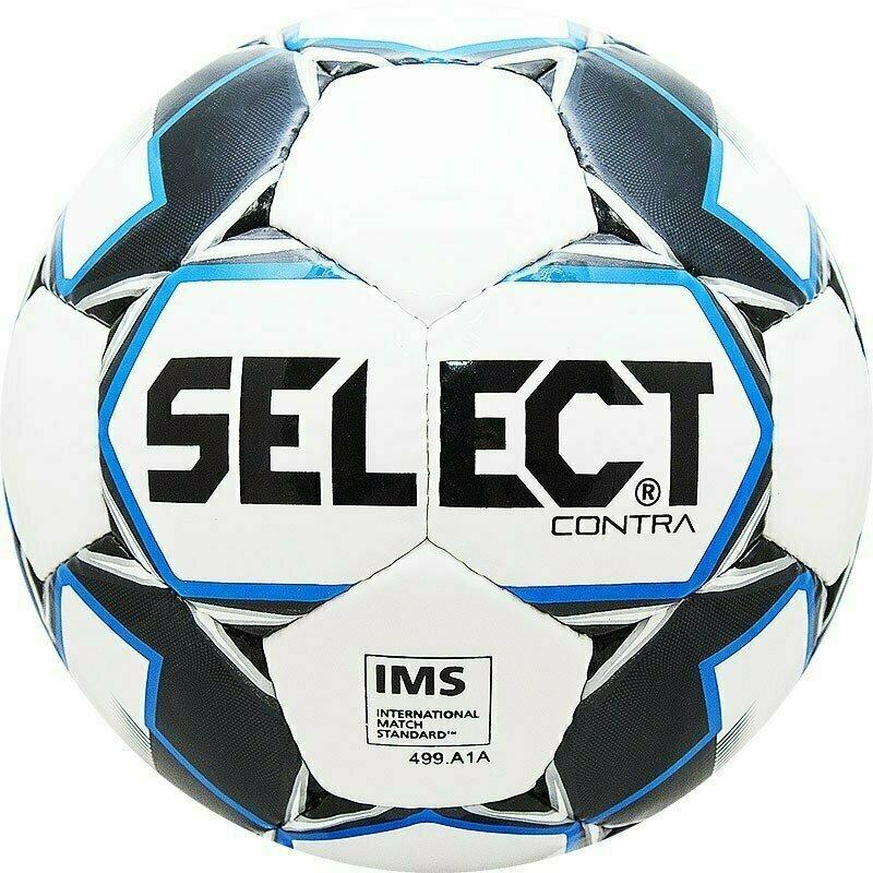 Мяч футбольный  SELECT Contra IMS арт. 812310-102, р.5, IMS, 32пан, гл.ПУ, руч.сш, бело-черн-син