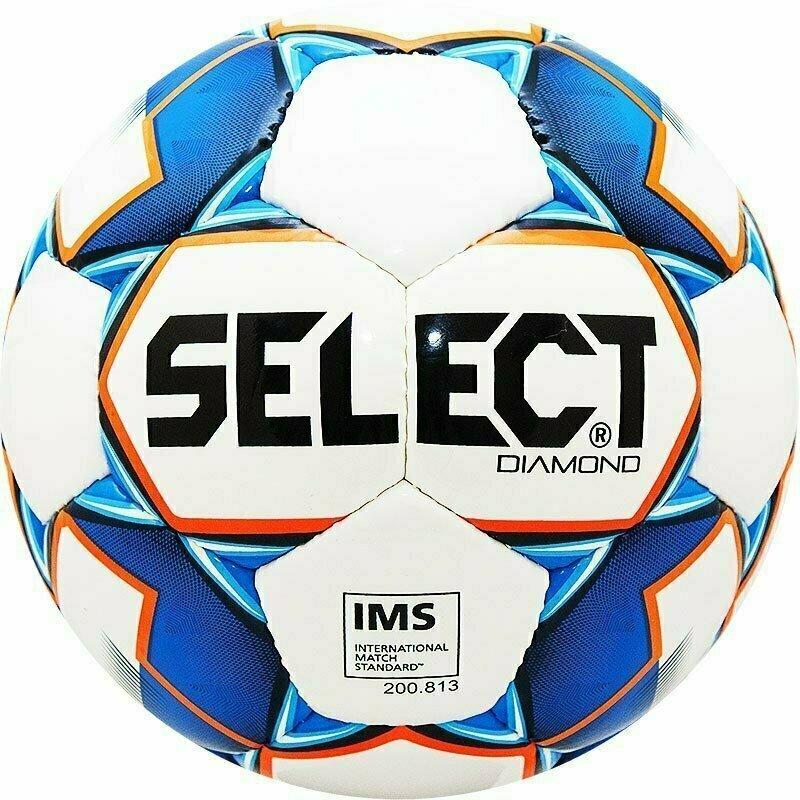 Мяч футбольный  SELECT Diamond арт.810015-002, р.5, IMS, 32пан, гл.ТПУ, руч.сш, бело-син-оранж