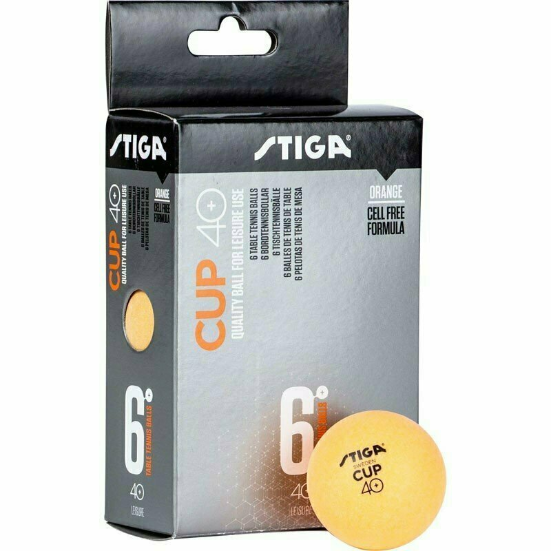 Мяч для настольного тенниса Stiga Cup ABS, арт.1110-2503-06, диам.40+мм, пластик, упак. 6 шт, оранж.