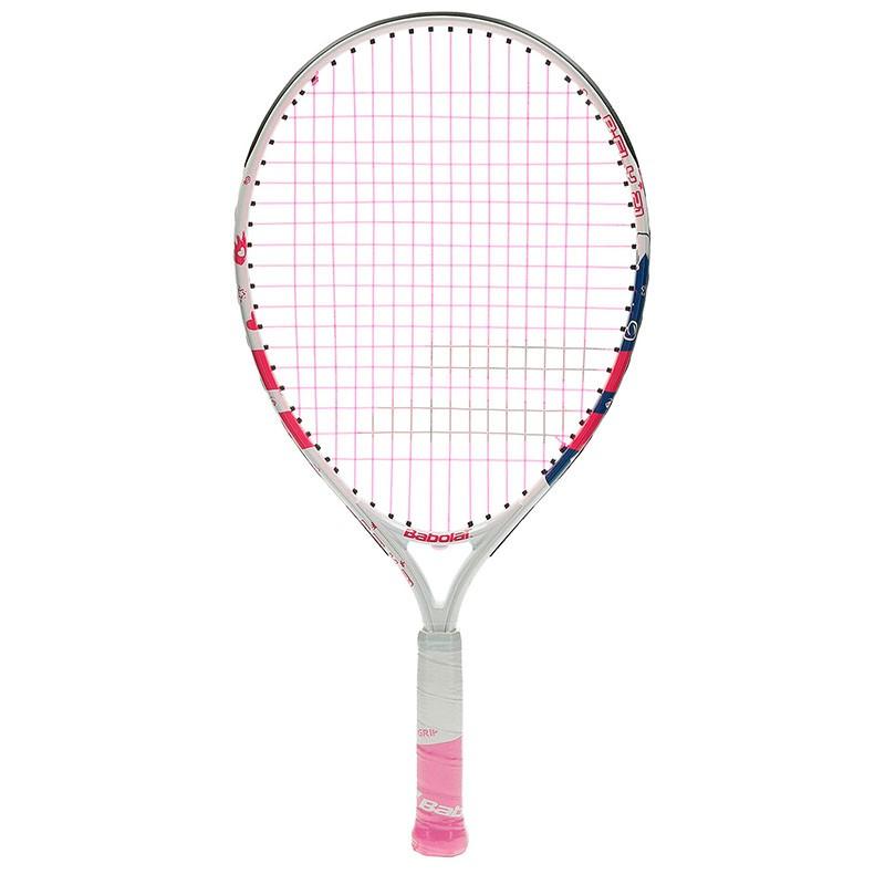 Ракетка теннисная детская BABOLAT B`FLY 21 Gr000, арт.140243, для 5-7 лет, алюминий, со струнами, бел-роз-син