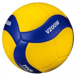 Мяч волейбольный  MIKASA V200W , р.5, оф.мяч FIVB, FIVB Appr, синтетическая кожа (микрофиб), 18пан, клееный, желт-син