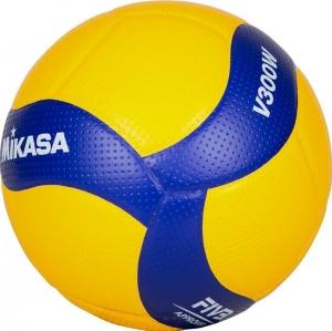 Мяч волейбольный  MIKASA V300W , р.5, FIVB Appr, 18 пан, синтетическая кожа (микрофиб), клееный, бутиловая камера , желто-синий