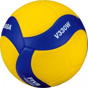Мяч волейбольный  MIKASA V330W , р.5, синтетическая кожа (ПУ), 18 пан., оф. парам. FIVB,клееный, бутиловая камера , желто-синий