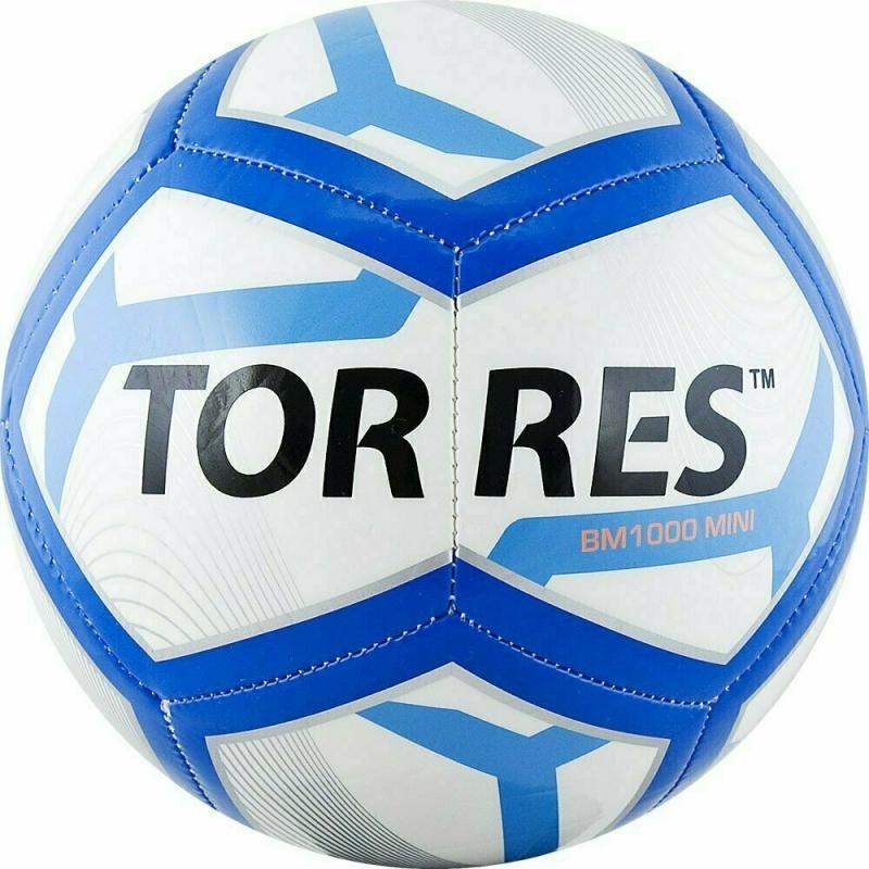 Мяч футбольный сув. TORRES BM1000 Mini арт.F31971, д.16 см, ТПУ, маш. сш, бело-сине-черный