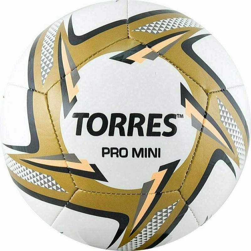 Мяч футбольный сув. TORRES Pro Mini арт.F31910, д.15 см, ТПУ, маш. сш, бел-черн-золотой