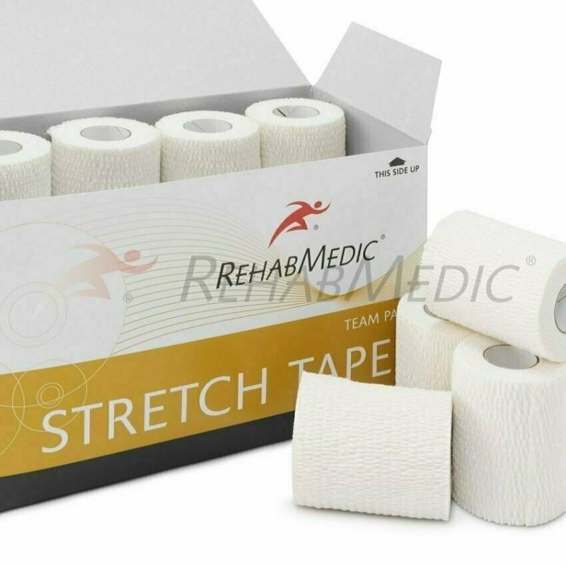 Тейп спортивный Rehab Stretch Tape, арт.RMV0223WH, хлопок, полиэстер, 7.5см x 4.6м, уп. 16 шт, белый REHABMEDIC