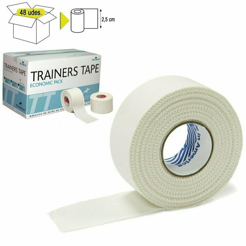 Тейп спортивный Rehab Trainers Tape, арт.TT01, хлопок, полиэстер, 2.5 см x 10 м, уп. 48 шт, белый REHABMEDIC