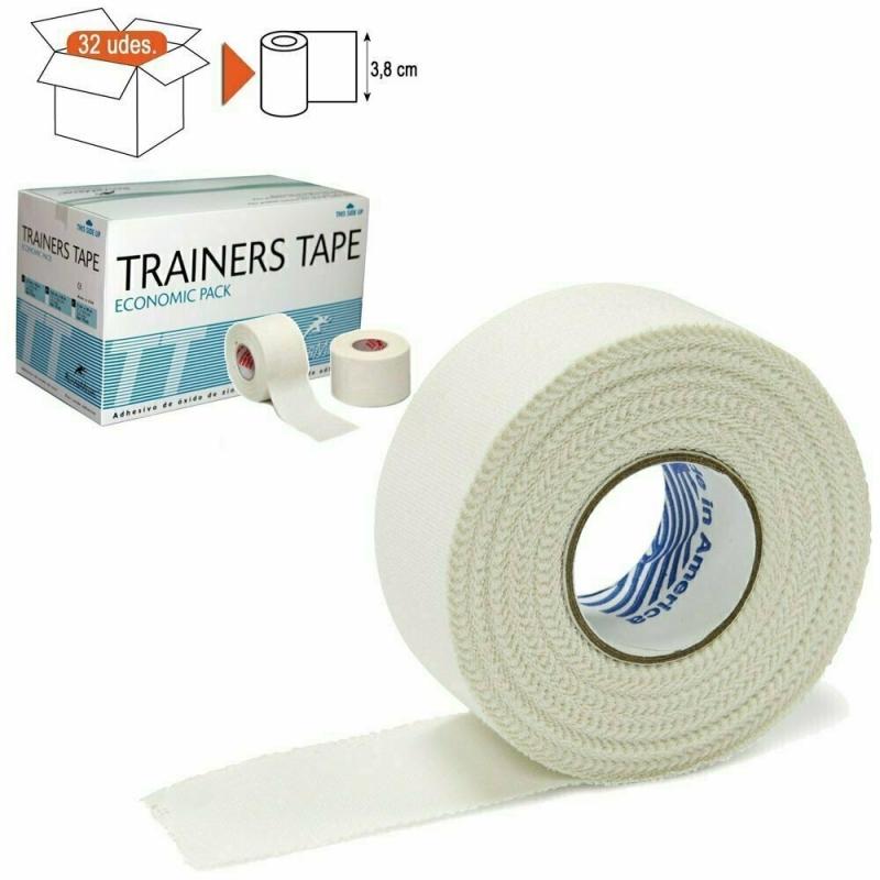 Тейп спортивный Rehab Trainers Tape, арт.TT02, хлопок, полиэстер, 3.8 см x 10 м, уп. 32 шт, белый REHABMEDIC