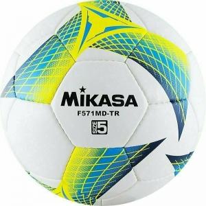 Мяч футбольный  MIKASA F571MD-TR-B , р.5, 32пан, гл. ПВХ, руч.сш, лат.кам, бело-бирюз-желтый