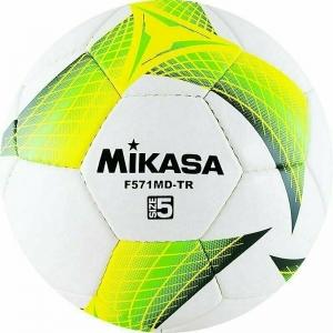 Мяч футбольный  MIKASA F571MD-TR-G , р.5, 32пан, гл. ПВХ, руч.сш, лат.кам, бело-желто-зеленый