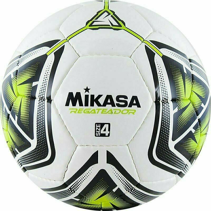 Мяч футбольный  MIKASA REGATEADOR4-G , р.4, 32пан, гл. ПВХ, руч.сш, лат.кам, бело-черн-зеленый