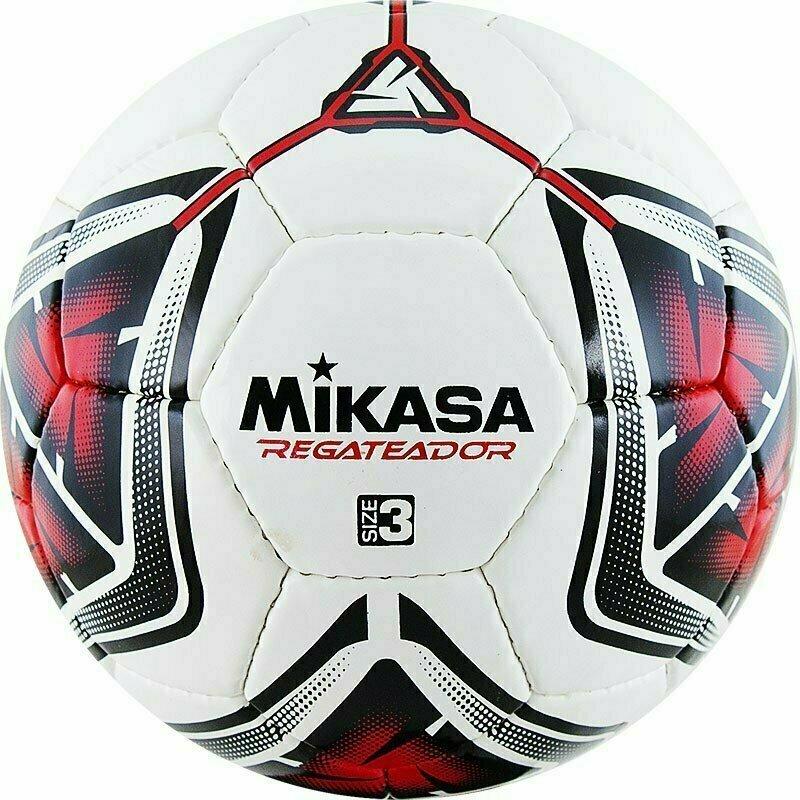 Мяч футбольный  MIKASA REGATEADOR3-R , р.3, 32пан, гл. ПВХ, руч.сш, лат.кам, бело-черн-красный