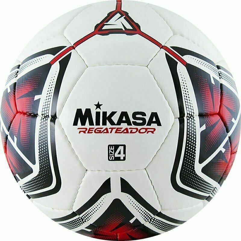 Мяч футбольный  MIKASA REGATEADOR4-R , р.4, 32пан, гл. ПВХ, руч.сш, лат.кам, бело-черн-красный