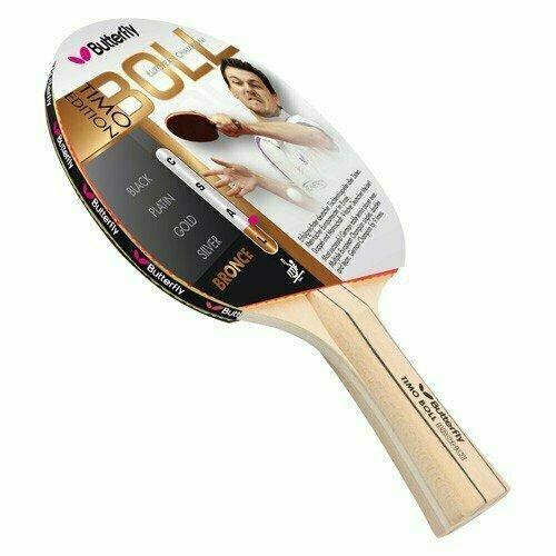 Ракетка для настольного тенниса Butterfly Timo Boll bronze, для начинающих, накладка 1,5 мм ITTF, анатом./кон. ручка