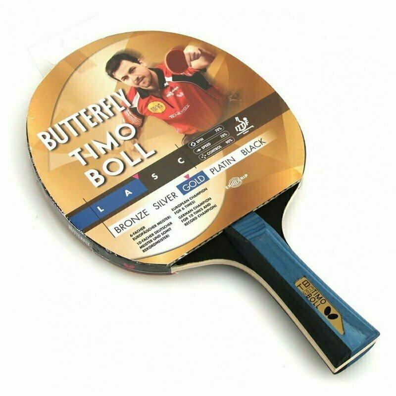 Ракетка для настольного тенниса Butterfly Timo Boll gold, для тренировок, накладка 1,5 мм ITTF, анатом./кон. ручка