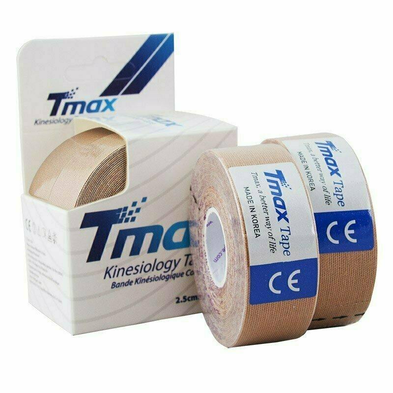 Тейп кинезиологический Tmax Extra Sticky Biege (2,5 см x 5 м), уп. 2 шт, арт. 423815, телесный