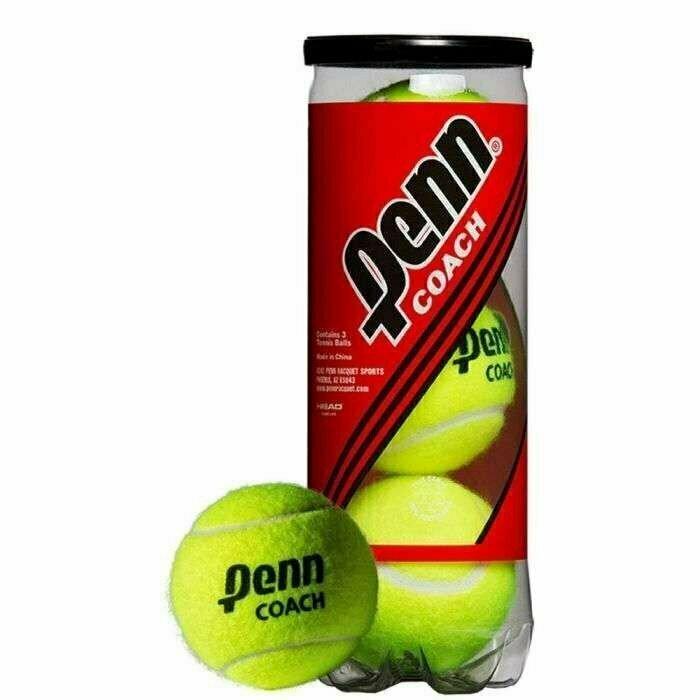Мяч теннисный Penn Coach 3B,арт.524306, уп.3 шт, сукно, нат.резина, желтый HEAD