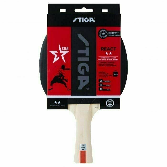 Ракетка для настольного тенниса Stiga React WRB 2**, арт.1212-8418-01, для тренир., накладка 1,9 мм,ITTF, кон. ручка