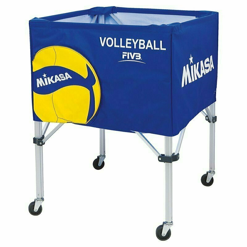Тележка для мячей MIKASA AC-BC200W ,на 25-30 шт., дл. 67см, глуб.45 см, выс.103 см, сине-желто-бел.