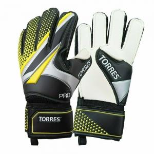 Перчатки вратарские  TORRES Pro арт. FG0519711, р.11, 4 мм латекс, удл.манж., черно-желто-серебристый