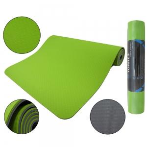Коврик для йоги TORRES Comfort 6 арт.YL10096, TPE 6 мм, нескользящее покрытие, зелено-серый