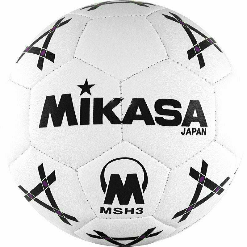 Мяч гандб. MIKASA MSH 3 , синтетическая кожа , р. 3, машинная сшивка, бело-черно-фиолет.