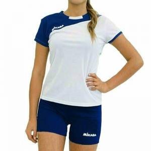 Форма волейбольная женская  MIKASA , арт. MT376-023-S, р. S, 100% полиэстер, бело-т.синий