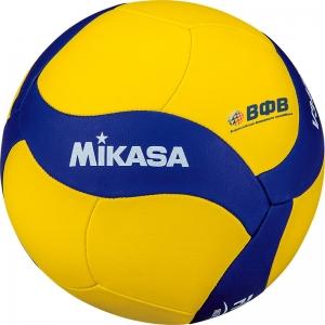 Мяч волейбольный  MIKASA V345W , р.5, вес 195-225г, синтетическая кожа (ПУ), 18 пан, машинная сшивка , бутиловая камера , желто-синий