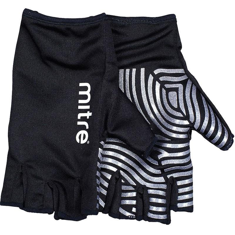 Перчатки для регби MITRE Sticky Fingers арт.T29008, р.L, лайкра, силикон, черно-серебристые