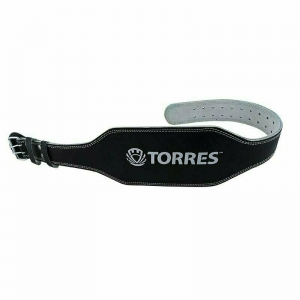 Пояс тяжелоатлетический TORRES арт.PRL619018L, р.L (120 см), шир. 15 см, нат.прес.кожа, черный