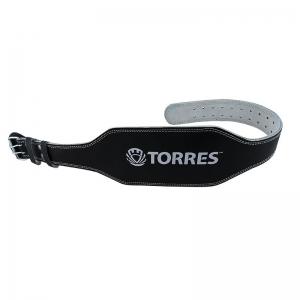 Пояс тяжелоатлетический TORRES арт.PRL619018S, р.S (100 см), шир. 15 см, нат.прес.кожа, черный