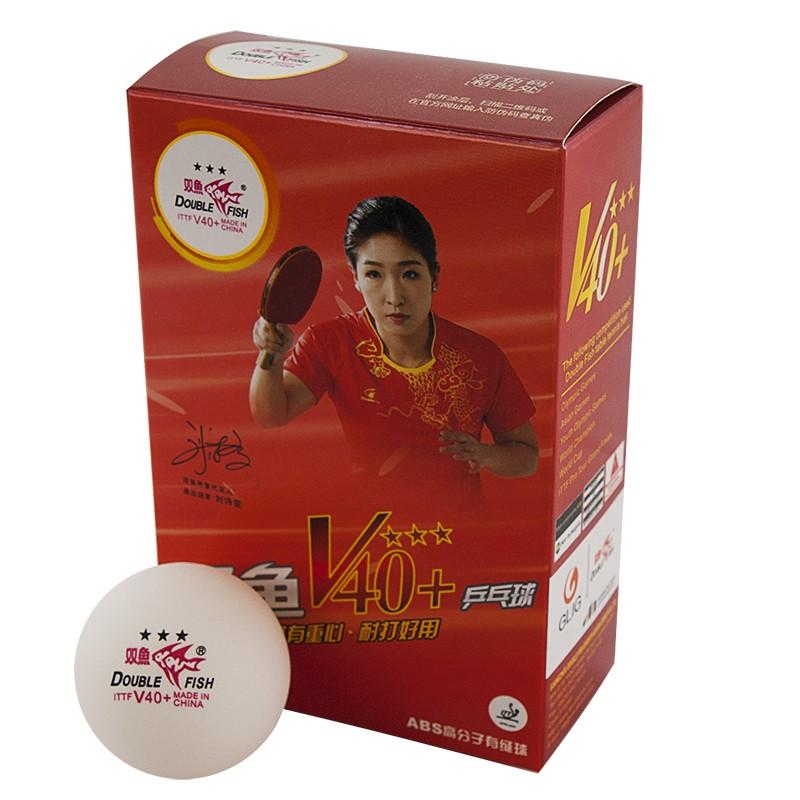 Мяч для настольного тенниса Double Fish 3***, World Cup диам. V40+мм, ITTF Appr,плаcтик,упак.6 шт,белый V111F