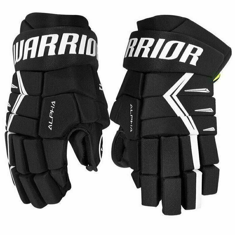 Перчатки хоккейные  WARRIOR ALPHA DX5 арт.DX5G9-BK13, р.13, нейлон, ЭВА с пласт. встав, черн-бел