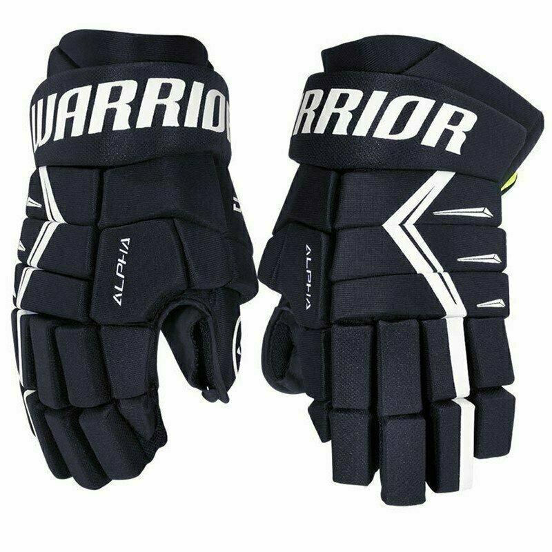 Перчатки хоккейные  WARRIOR ALPHA DX5 арт.DX5G9-NV13, р.13, нейлон, ЭВА с пласт. встав, т.сине-белый