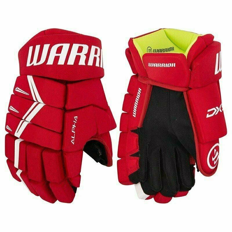 Перчатки хоккейные  WARRIOR ALPHA DX5 арт.DX5G9-RDW13, р.13, нейлон, ЭВА с пласт. встав, красно-белый