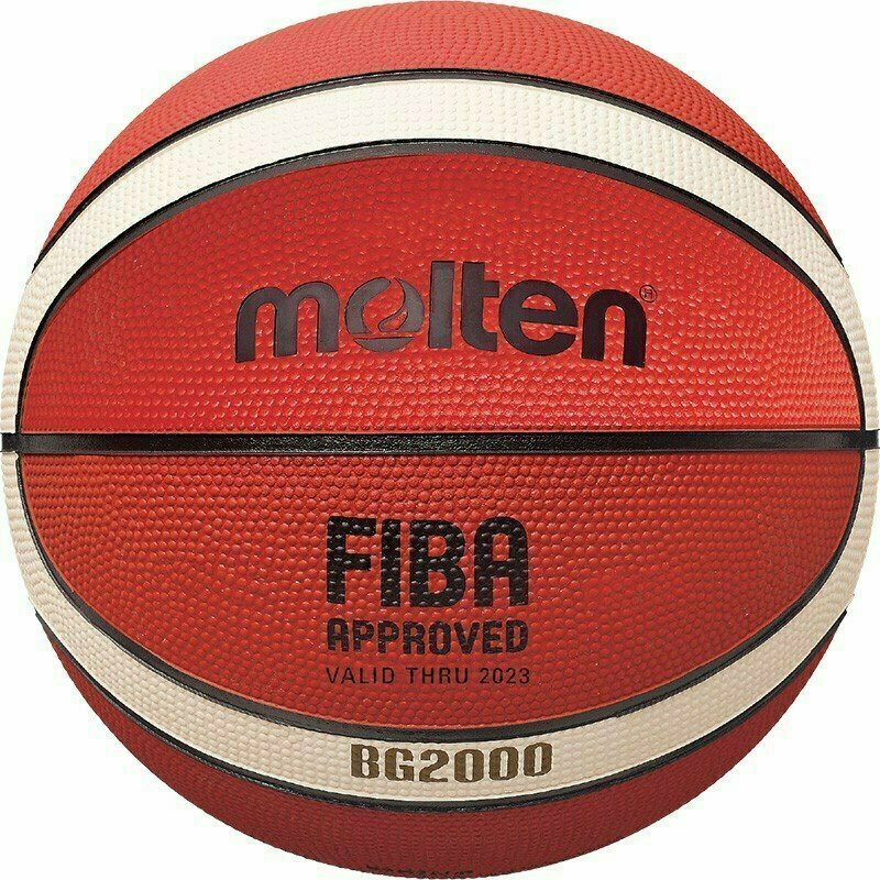 Мяч баскетбольный  MOLTEN B6G2000 р.6, FIBA Appr Level III, 12панелей, резина, бутиловая камера ,нейл.корд,ор-беж-чер