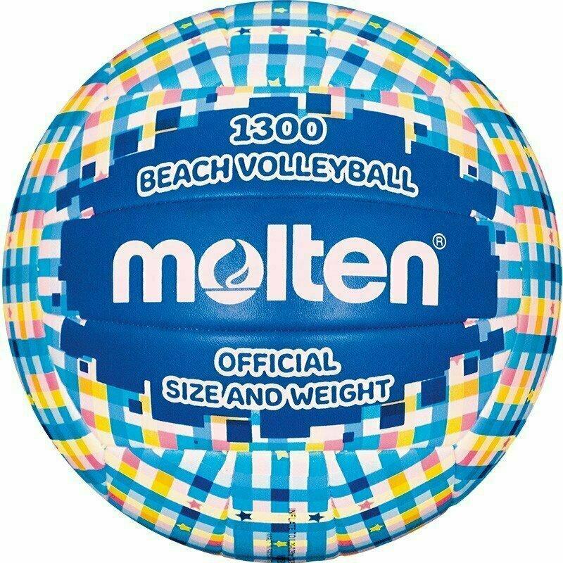 Мяч для пляжного волейбола  MOLTEN V5B1300-CB р.5, мат. синтетическая кожа ПВХ, маш.сш, бутиловая камера ,сине-голубо-бел-желт