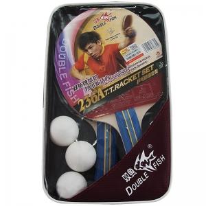 Набор для настольного тенниса DOUBLE FISH, арт.236A, 2 ракетки и 3 мяча, наклад. 1,8 мм, конич. ручка