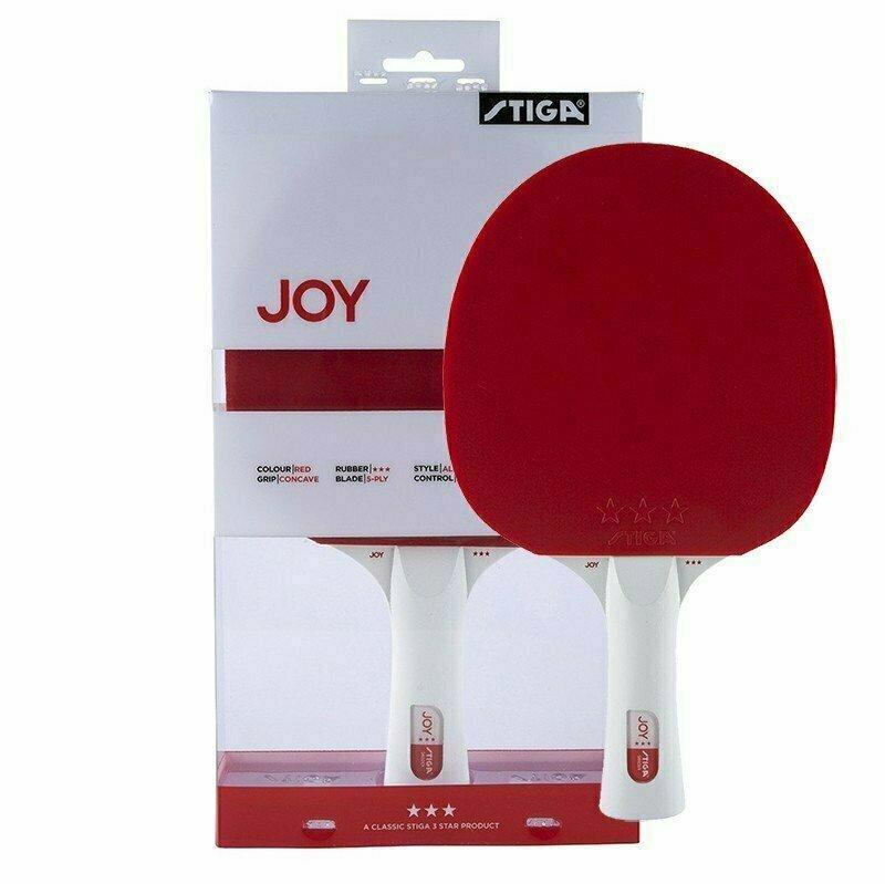 Ракетка для настольного тенниса Stiga JOY***, арт.189801, для тренир., накладка 1,9 мм,ITTF, кон. ручка, красная