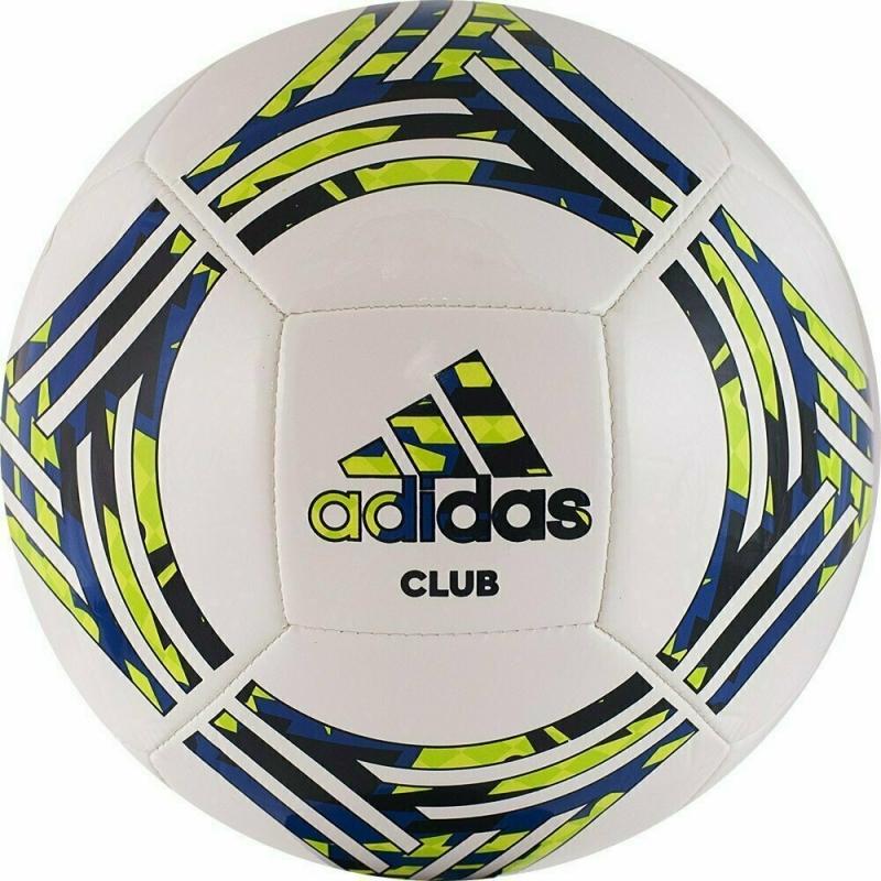 Мяч футбольный  ADIDAS Tango Club арт.GH0065,р.5, 14 пан, ТПУ, машинная сшивка , бело-сине-зеленый