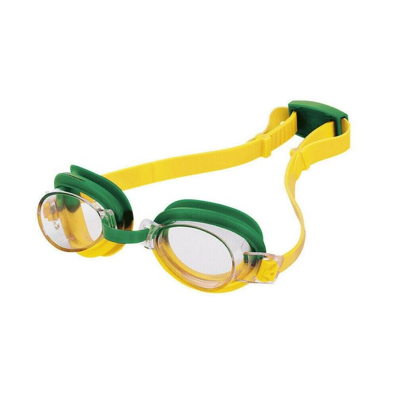 Очки для плавания детские  FASHY TOP Jr , арт.4105-02, ПРОЗРАЧНЫЕ линзы, регул.перенос., желто-зелен опр