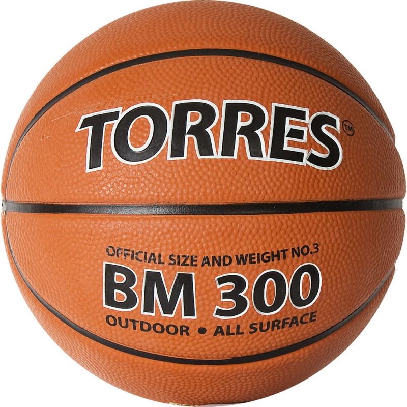 Мяч баскетбольный  TORRES BM300 арт.B02013, р.3, резина, нейлон. корд, бут. камера, темнооранж-черн