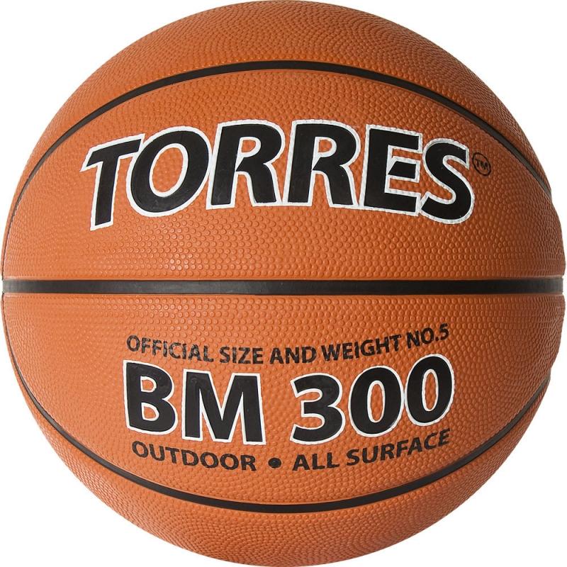 Мяч баскетбольный  TORRES BM300 арт.B02015, р.5, резина, нейлон. корд, бут. камера, темнооранж-черн