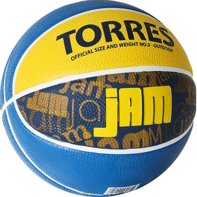 Мяч баскетбольный  TORRES Jam арт.B02043, р.3, резина, нейлон. корд, бут. кам., син-желт-голубой
