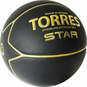 Мяч баскетбольный  TORRES Star арт.B32317, р.7, 7 панел.,ПУ-композит, нейлон. корд, бутиловая камера ., черно-золотой