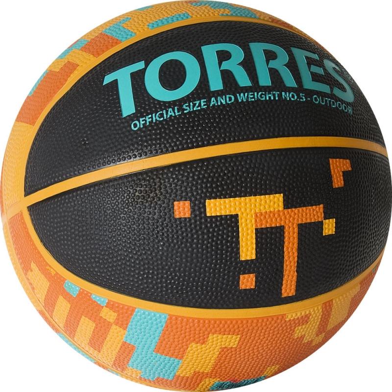 Мяч баскетбольный  TORRES TT арт. B02125, р.5, резина, нейлон. корд, бут. кам., черный-мультиколор
