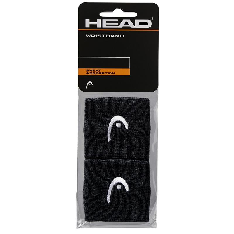 Напульсники HEAD 2,5 (ЧЕРНЫЕ), арт. 285050-BK, уп. 2шт, ширина 7см, 90% нейлон, 10% эластан, черный