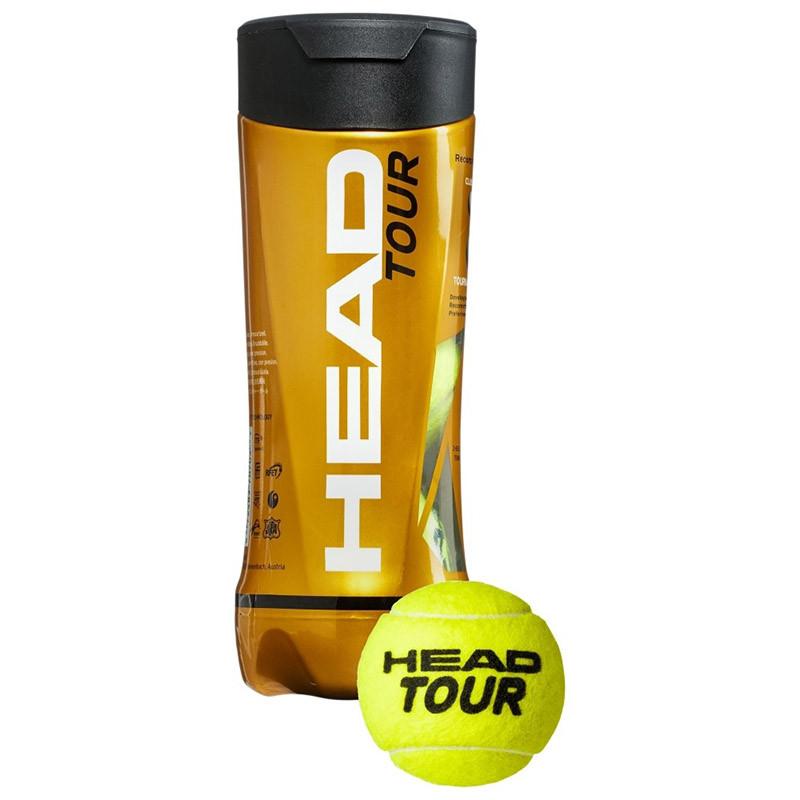 Мяч теннисный HEAD TOUR 3B,арт.570703, уп.3 шт,одобр.ITF,сукно,нат.резина,желтый